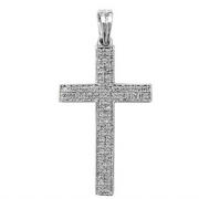 9ct white Gold 0.26ct Diamond set cross pendant